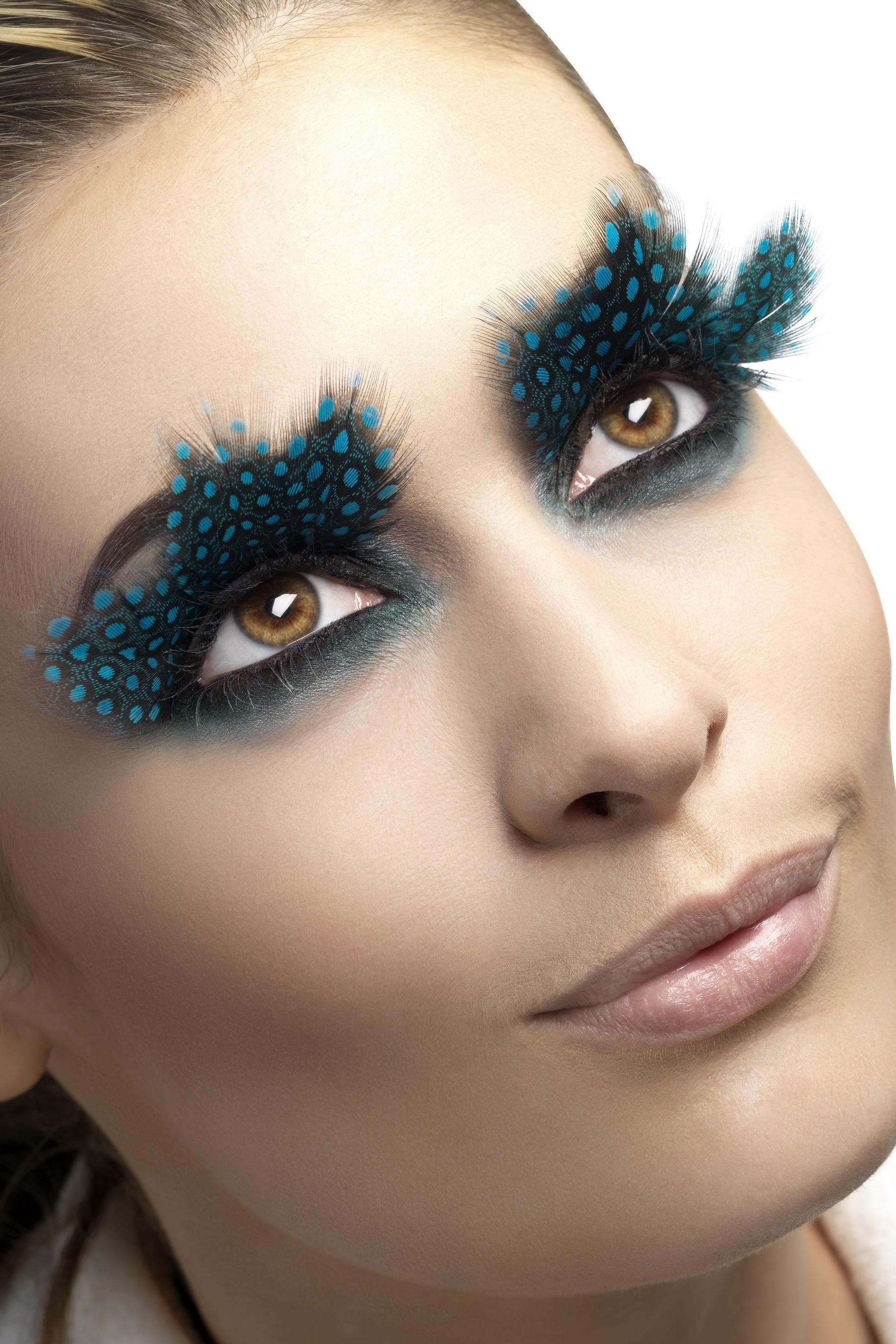 Eyelashes Large Feather with Aqua Dots