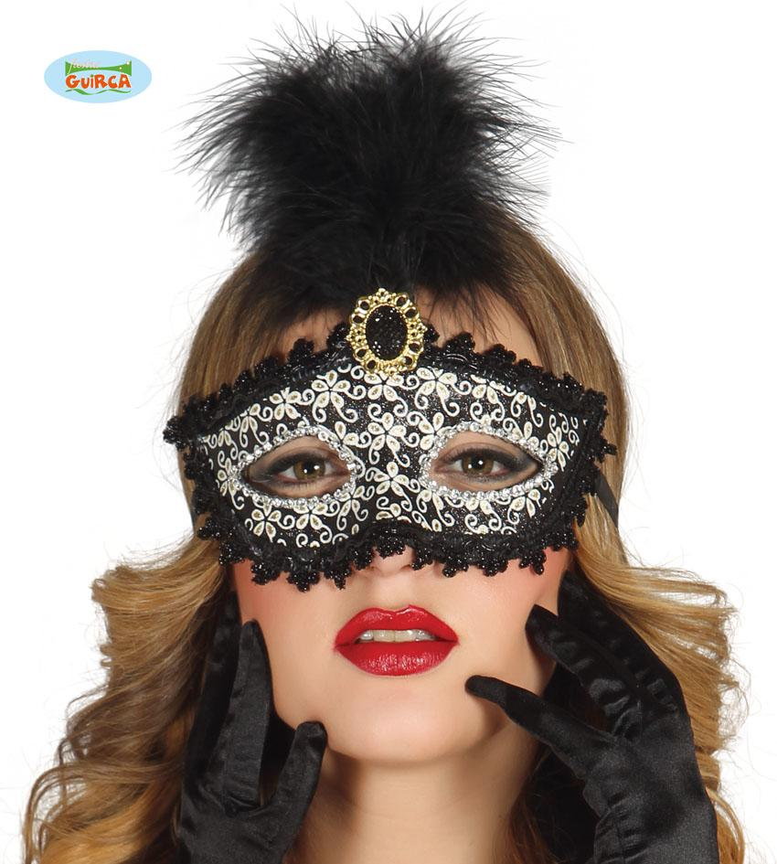 Black, Gold & White Eye Mask with Feather