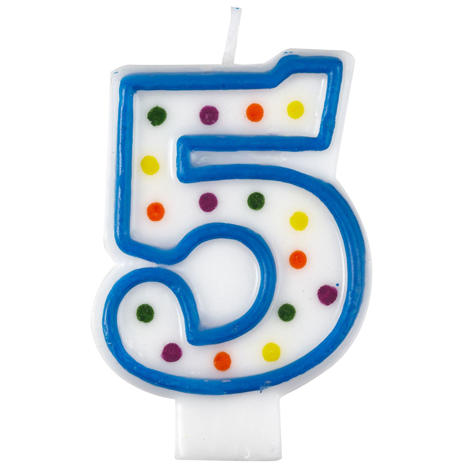 Birthday Candle Number 5 Polka Dot