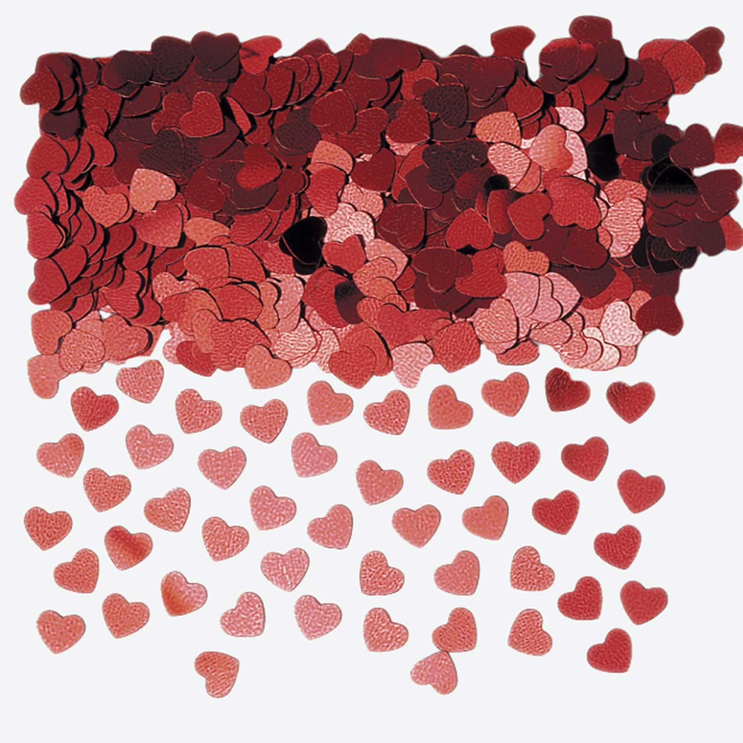 Metallic Confetti Hearts Red