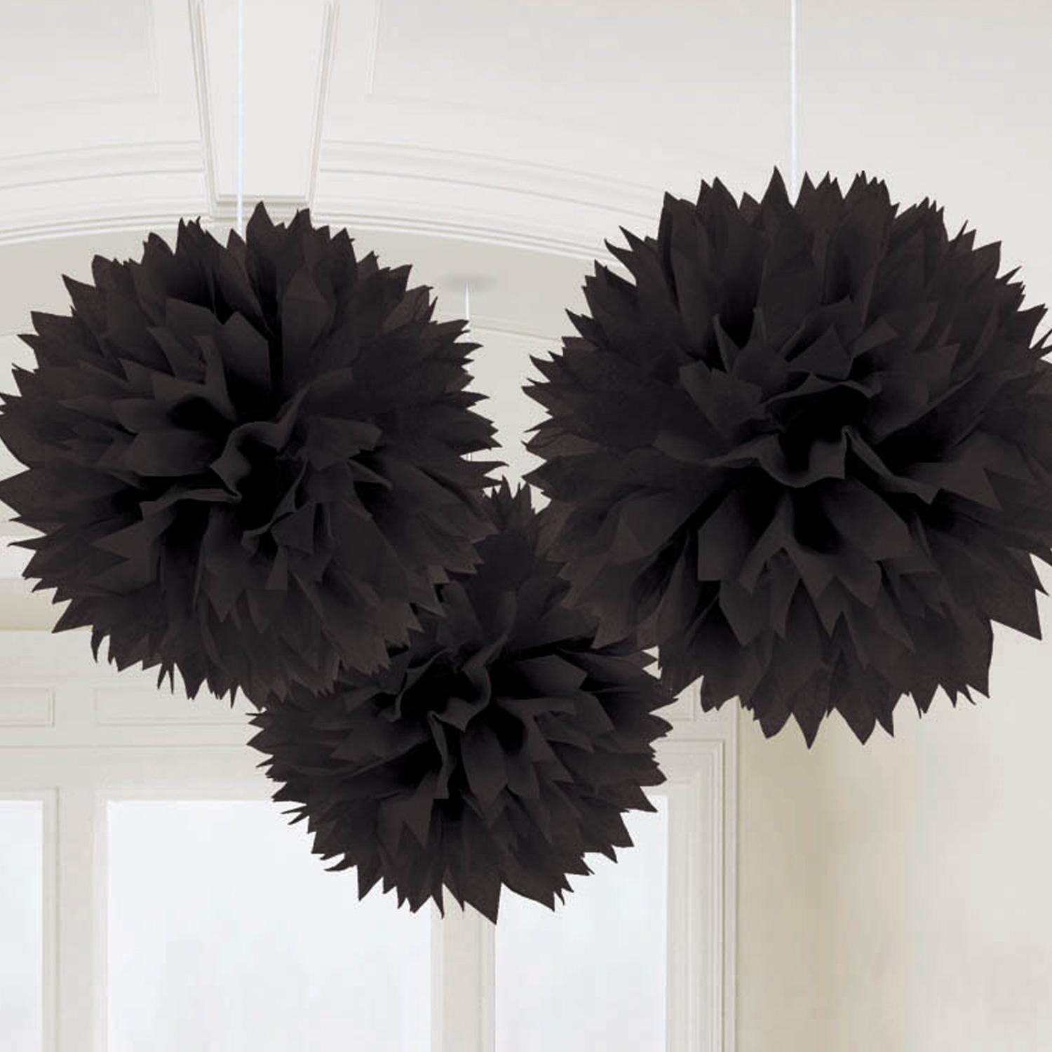 Fluffy Pom Poms Hanging Decoration Black