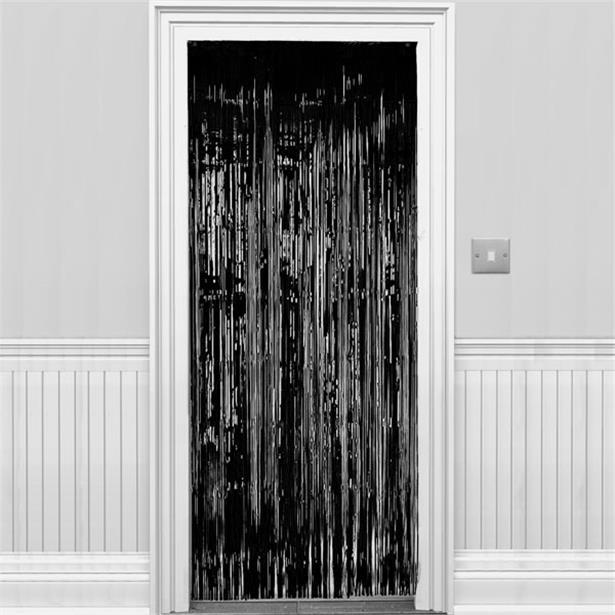 Metallic Fringed Door Curtain Black