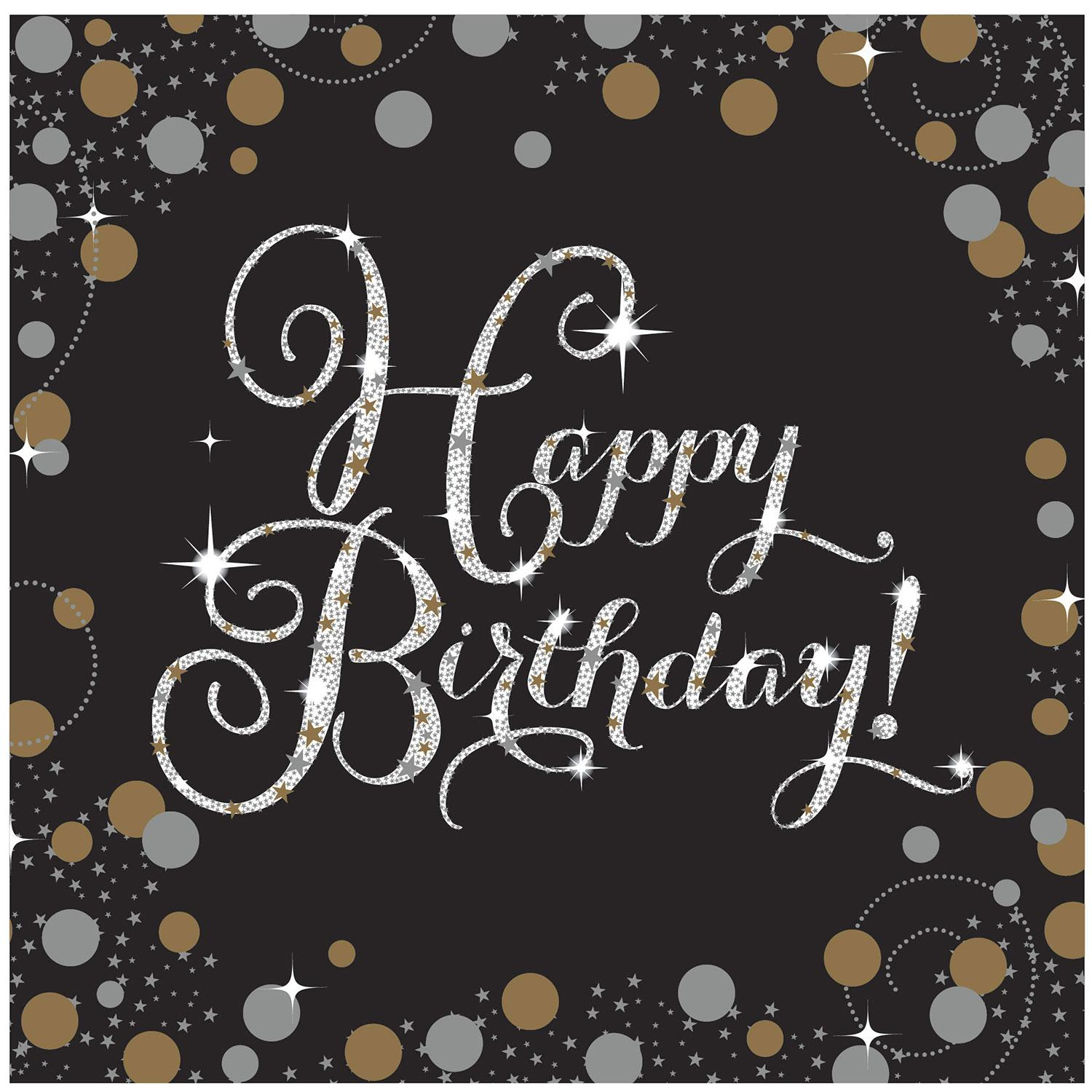 Paper Napkins Happy Birthday Black Gold Silver
