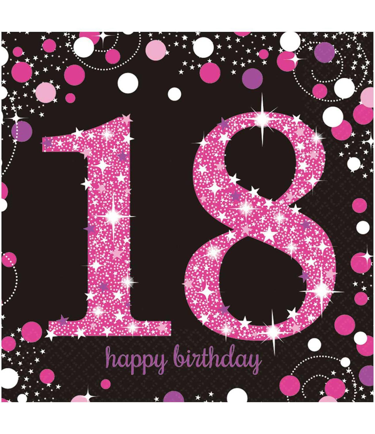 Paper Napkins 18th Birthday Pink & Silver