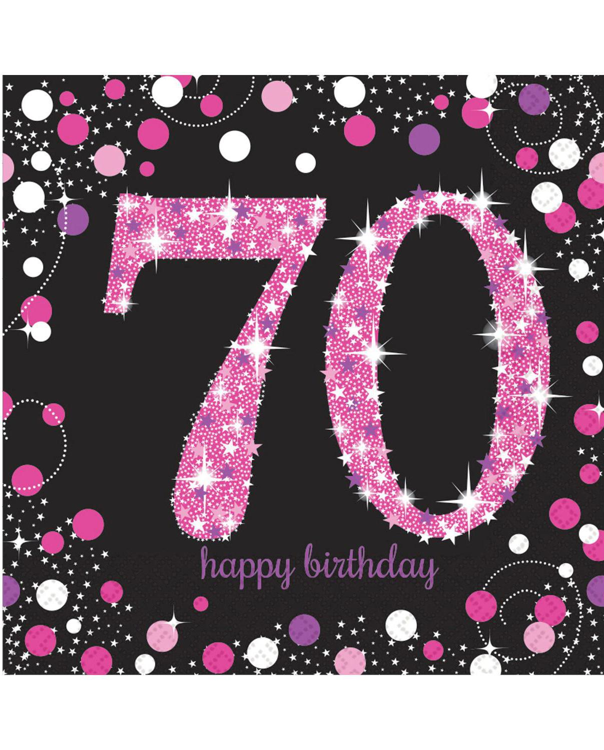 Paper Napkins 70th Birthday Pink & Silver