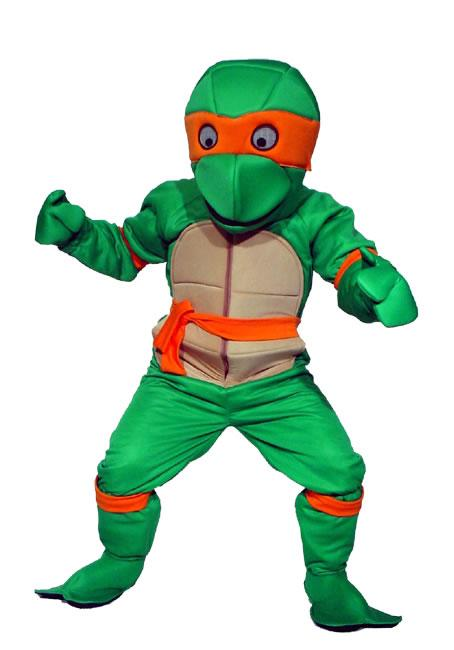 Ninja Turtle Orange Mascot Hire Costume
