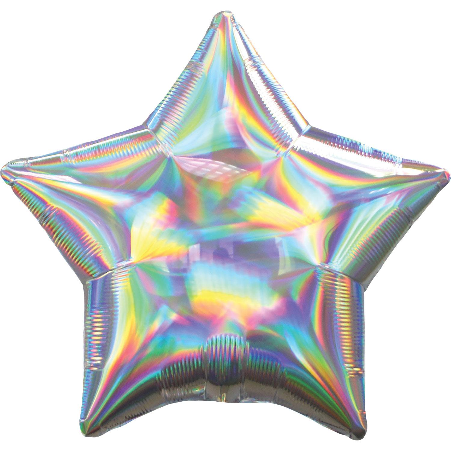 Foil Balloon Star Iridescent Silver