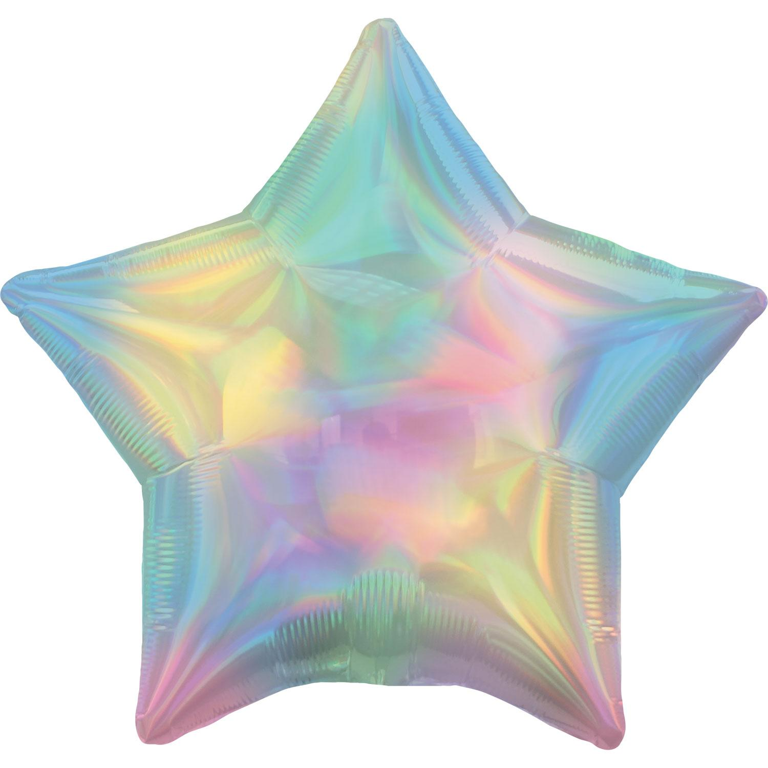 Foil Balloon Star Iridescent Pastel Rainbow