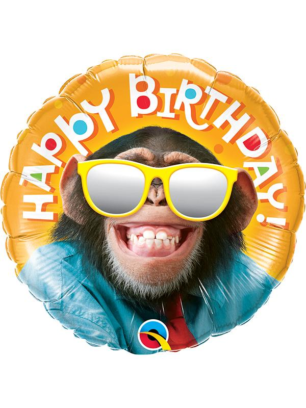 Foil Balloon Birthday Smiling Chimp