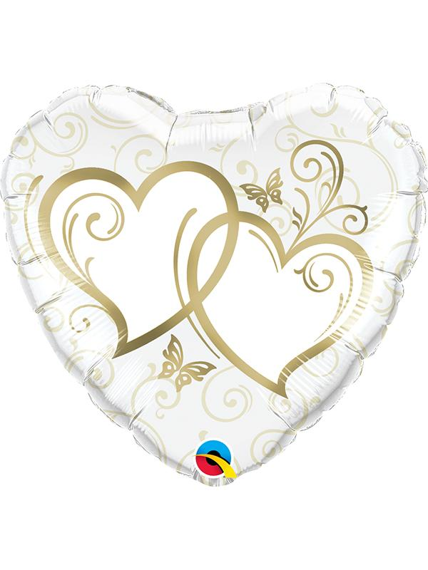 Foil Balloon Entwinden Hearts Gold 38 Inch