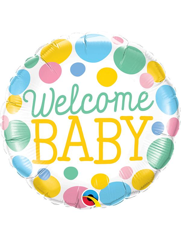 Foil Balloon Welcome Baby Dots