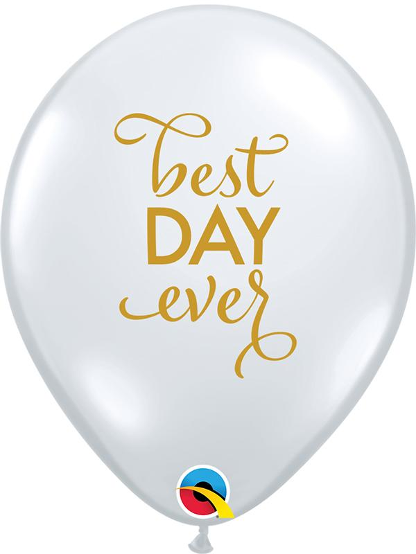 Latex Balloons Best Day Ever Diamond Clear