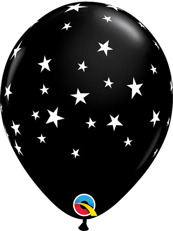 Latex Balloons Contempo Stars Black