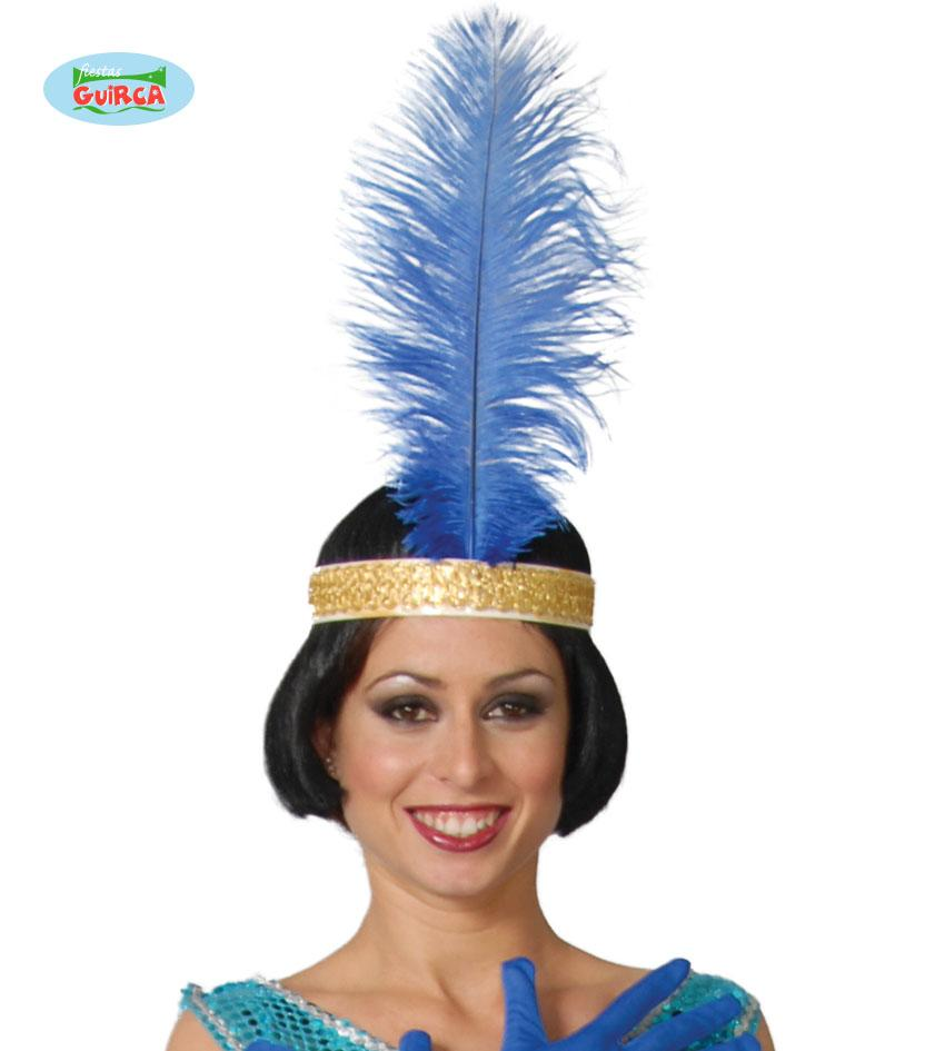 Ostrich Feather Blue 40cm