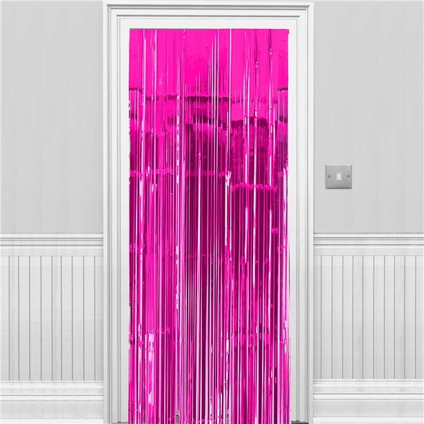 Metallic Fringed Door Curtain Bright Pink