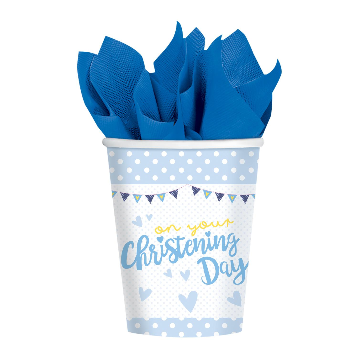 Paper Cups Christening Blue