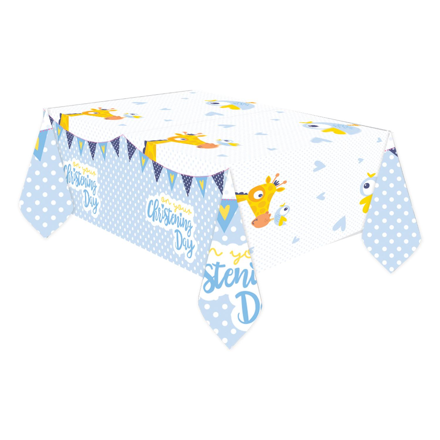Plastic Tablecover Christening Blue