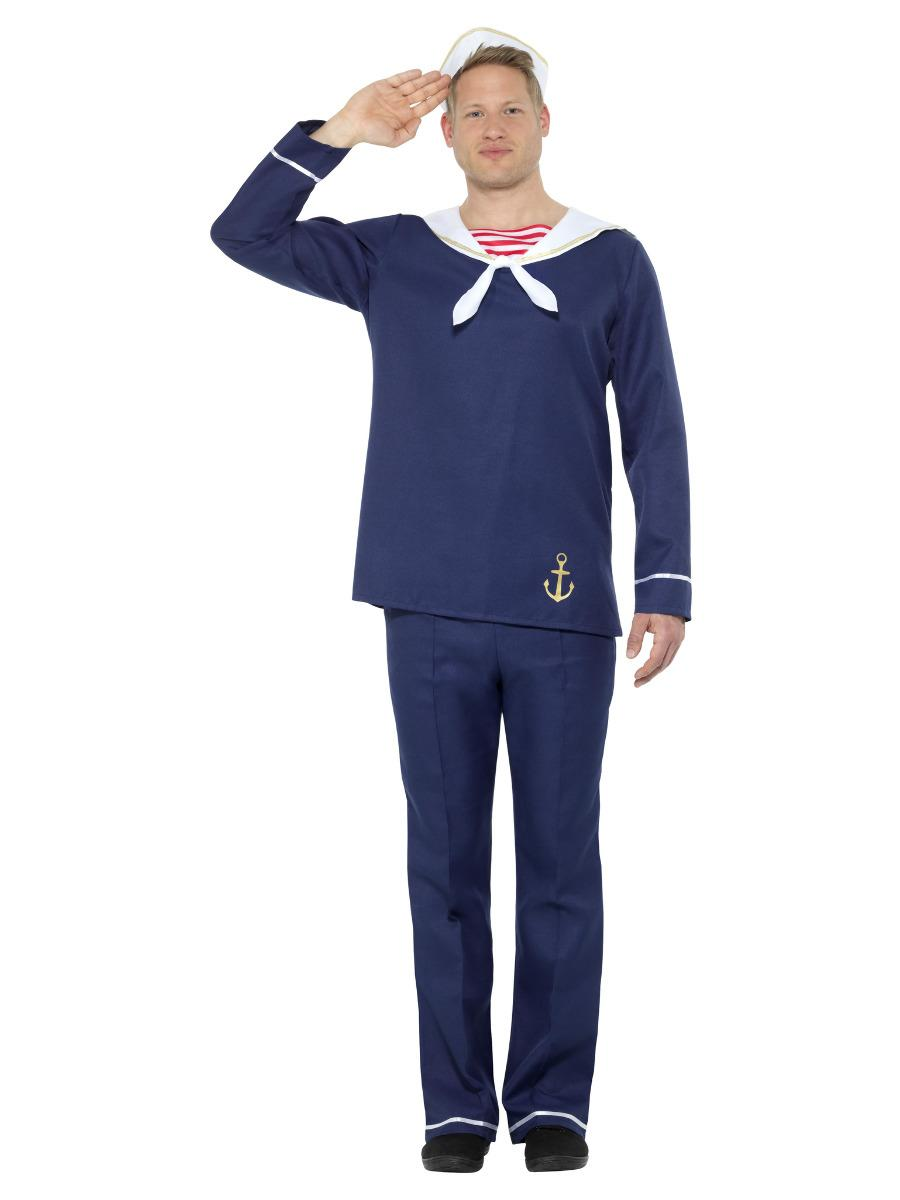 Sailor Man Costume Blue & White with Top Trousers & Hat