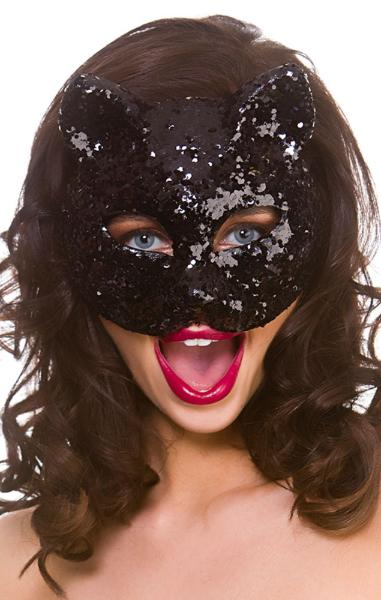 Glitter Cat Mask Black