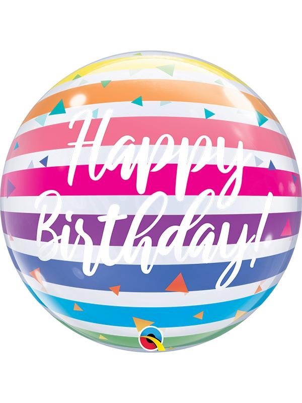 Bubble Balloon Birthday Rainbow Stripes