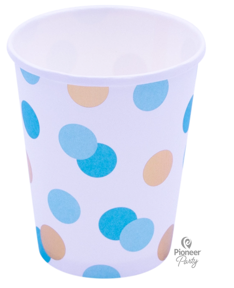 Blue & Gold Dot Paper Cups 8ct