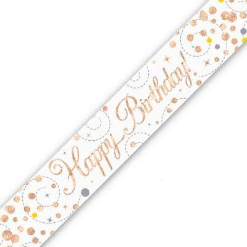 Sparkling Fizz Happy Birthday White & Rose Gold Holographic Banner