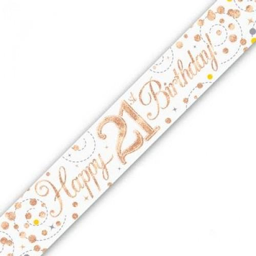 Sparkling Fizz Age 21 White & Rose Gold Holographic Banner