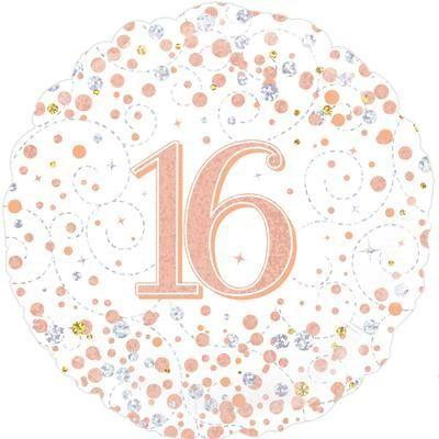 Foil Balloon Sparkling Fizz 16th Birthday White & Rose Gold