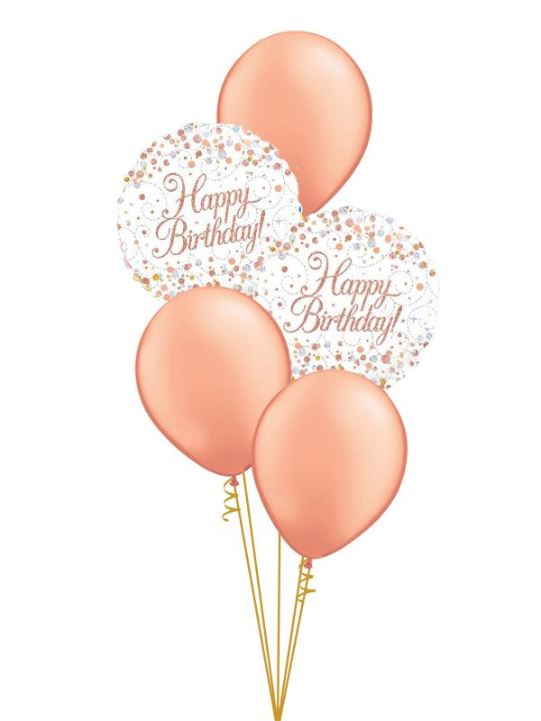 Rose Gold Birthday Classic Balloon Bouquet Ages 16-80