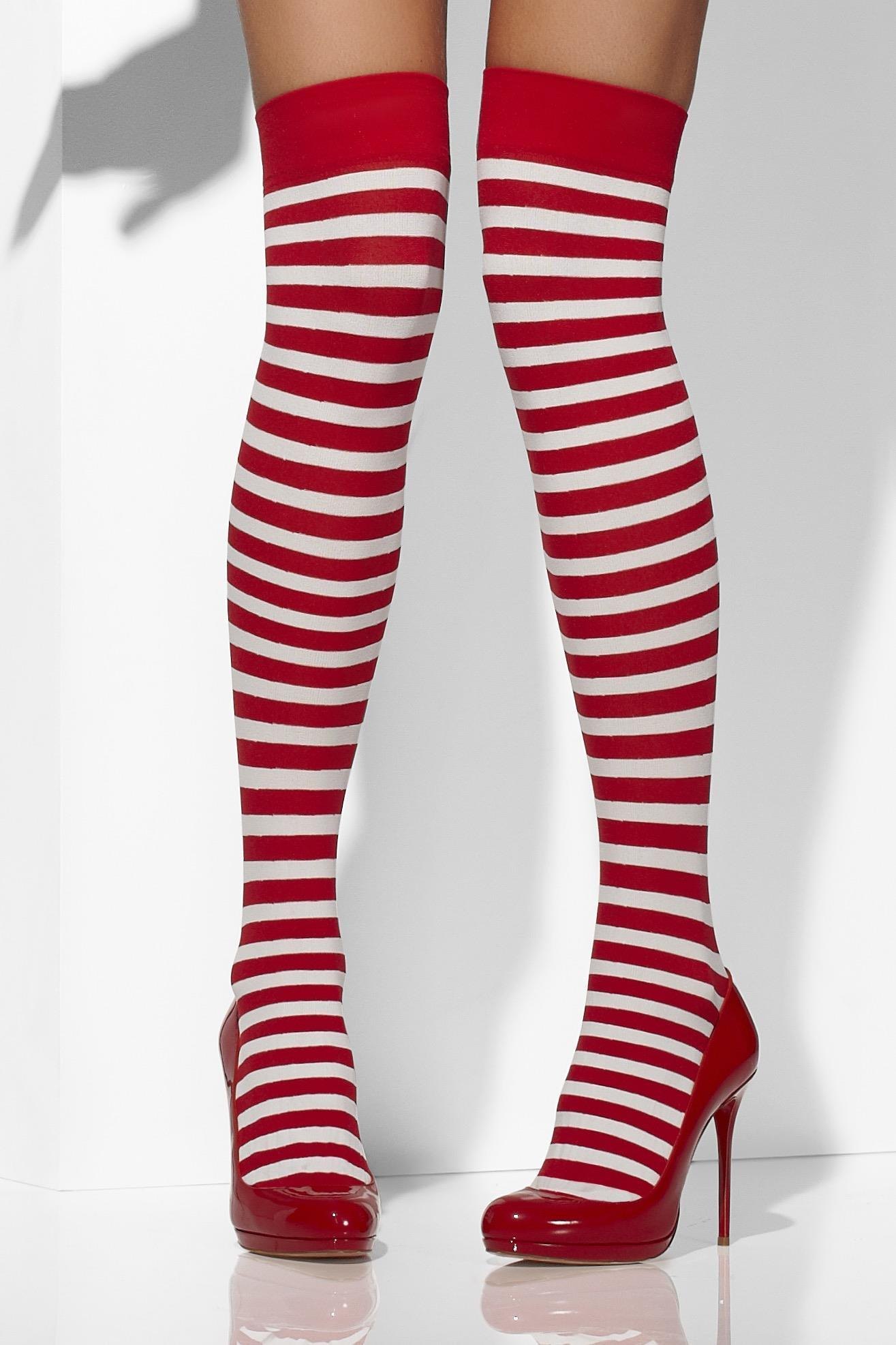 Opaque Hold-Ups Red & White Striped