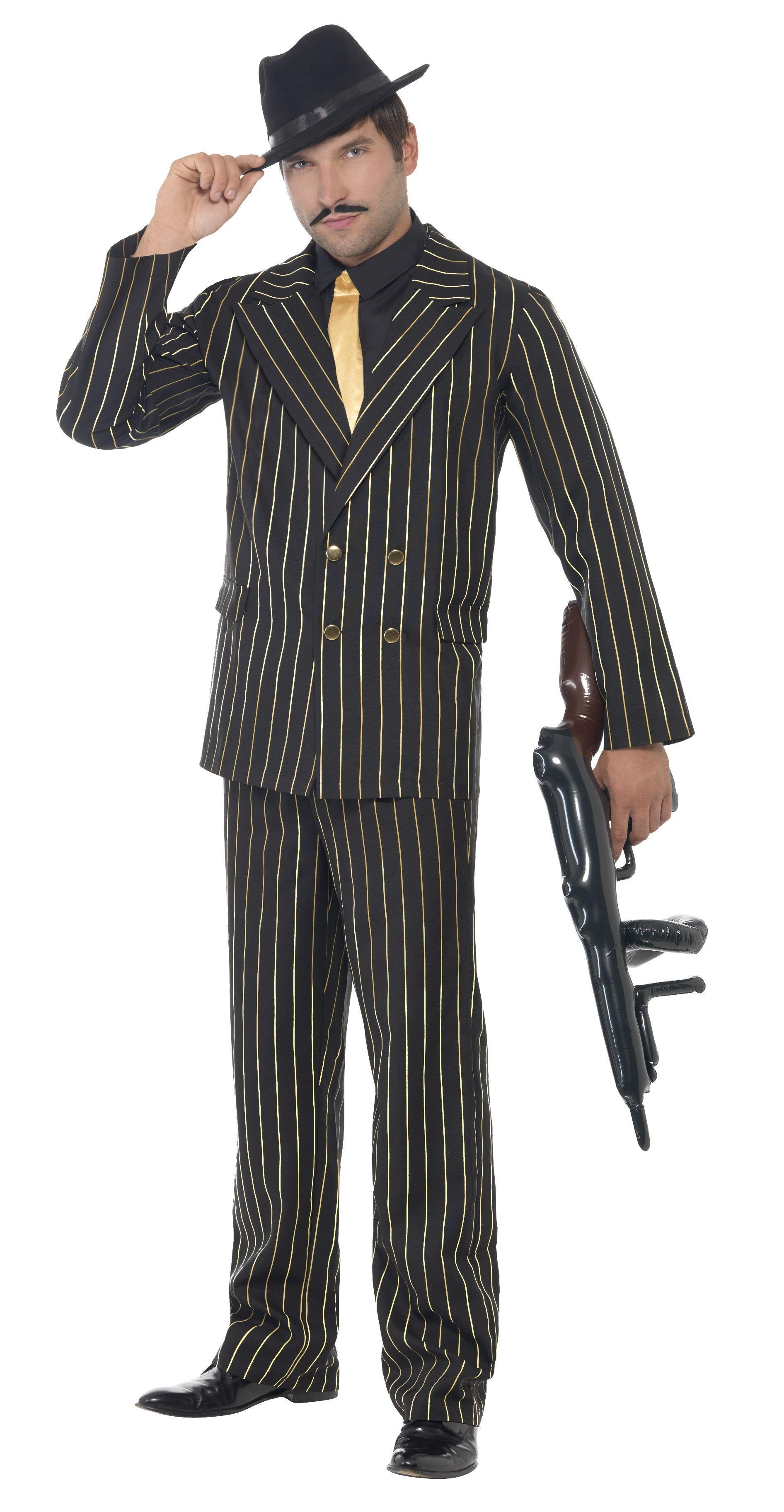 Gangster Suit Gold Pinstripe