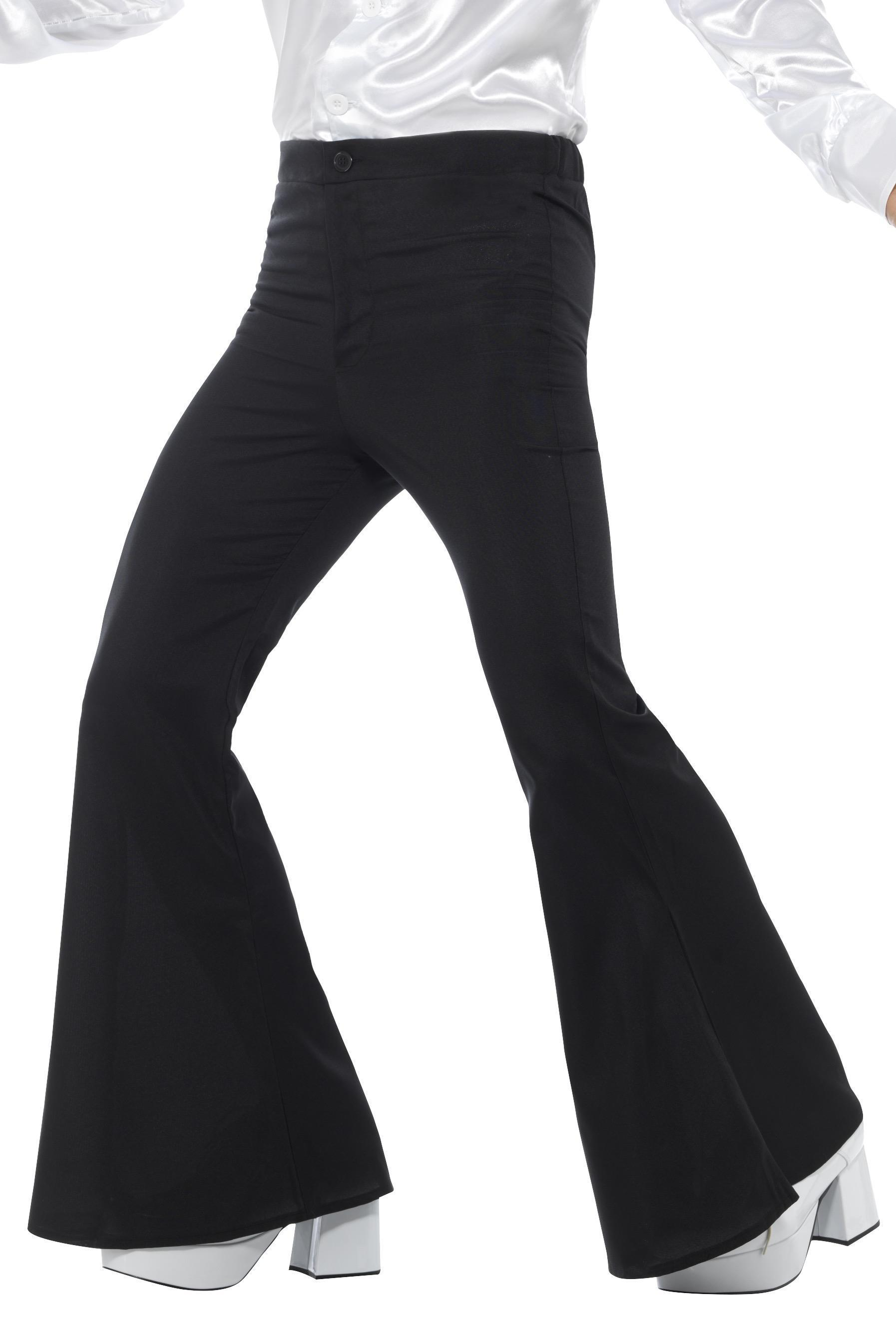 Mens Flared Trousers Black