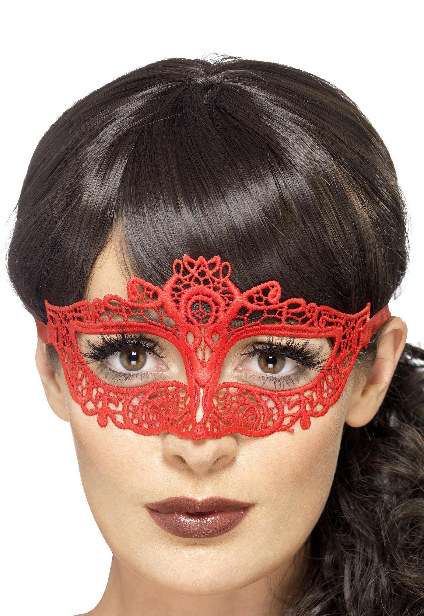 Embroidered Lace Filigree Eye mask Red
