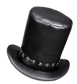Leather Look Top Hat Black
