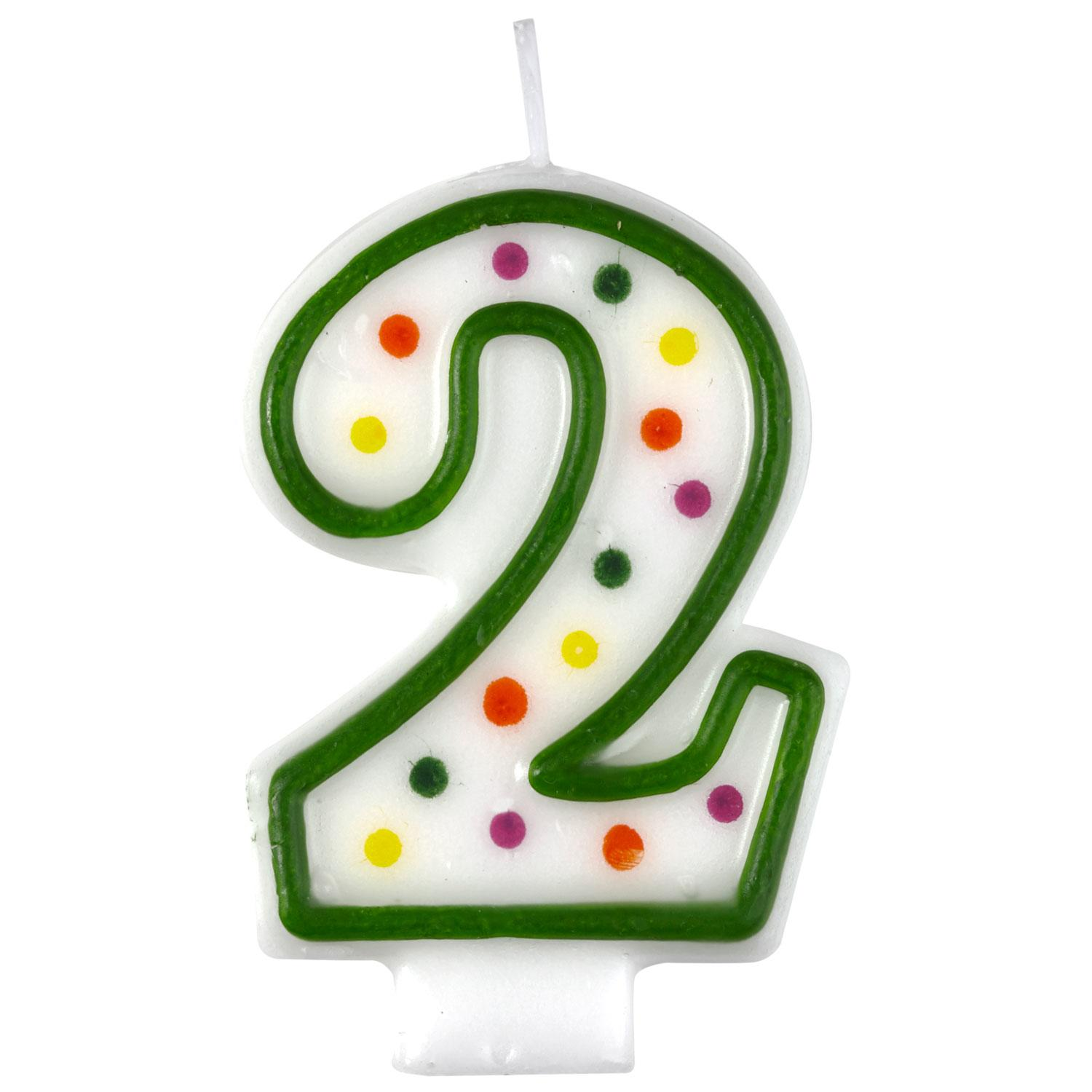 Birthday Candle Number 2 Polka Dot