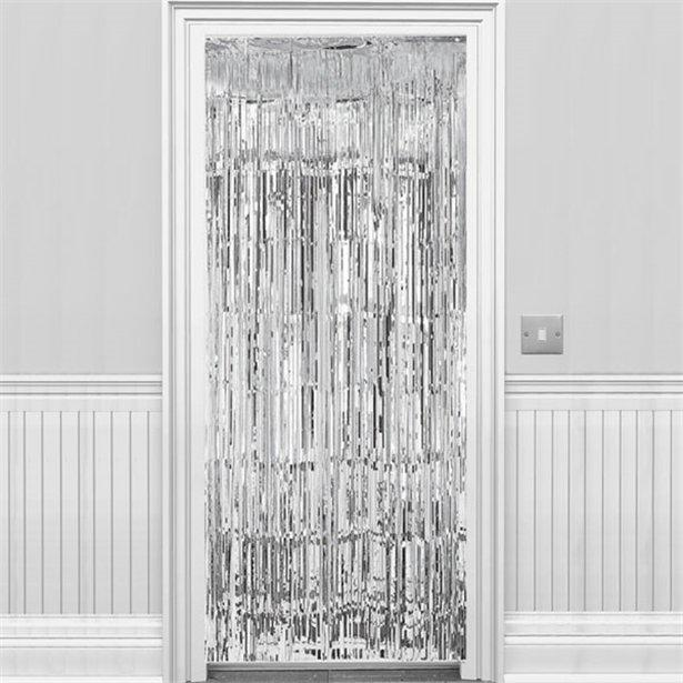 Metallic Fringed Door Curtain Silver