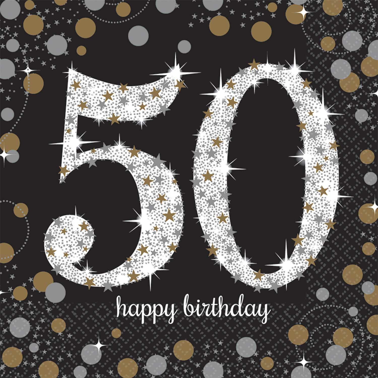 Paper Napkins 50th Birthday Black Gold Silver