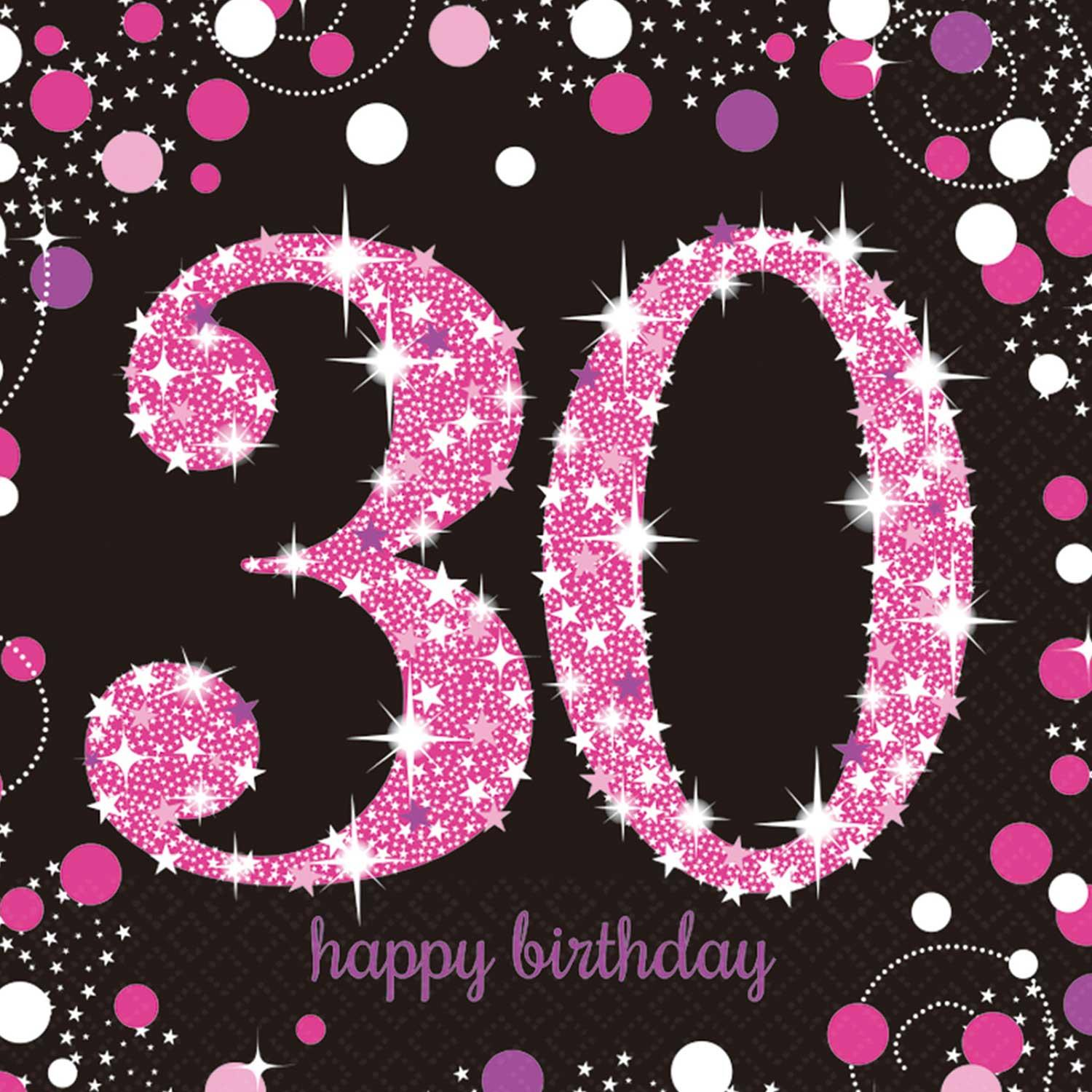 Paper Napkins 30th Birthday Pink & Silver