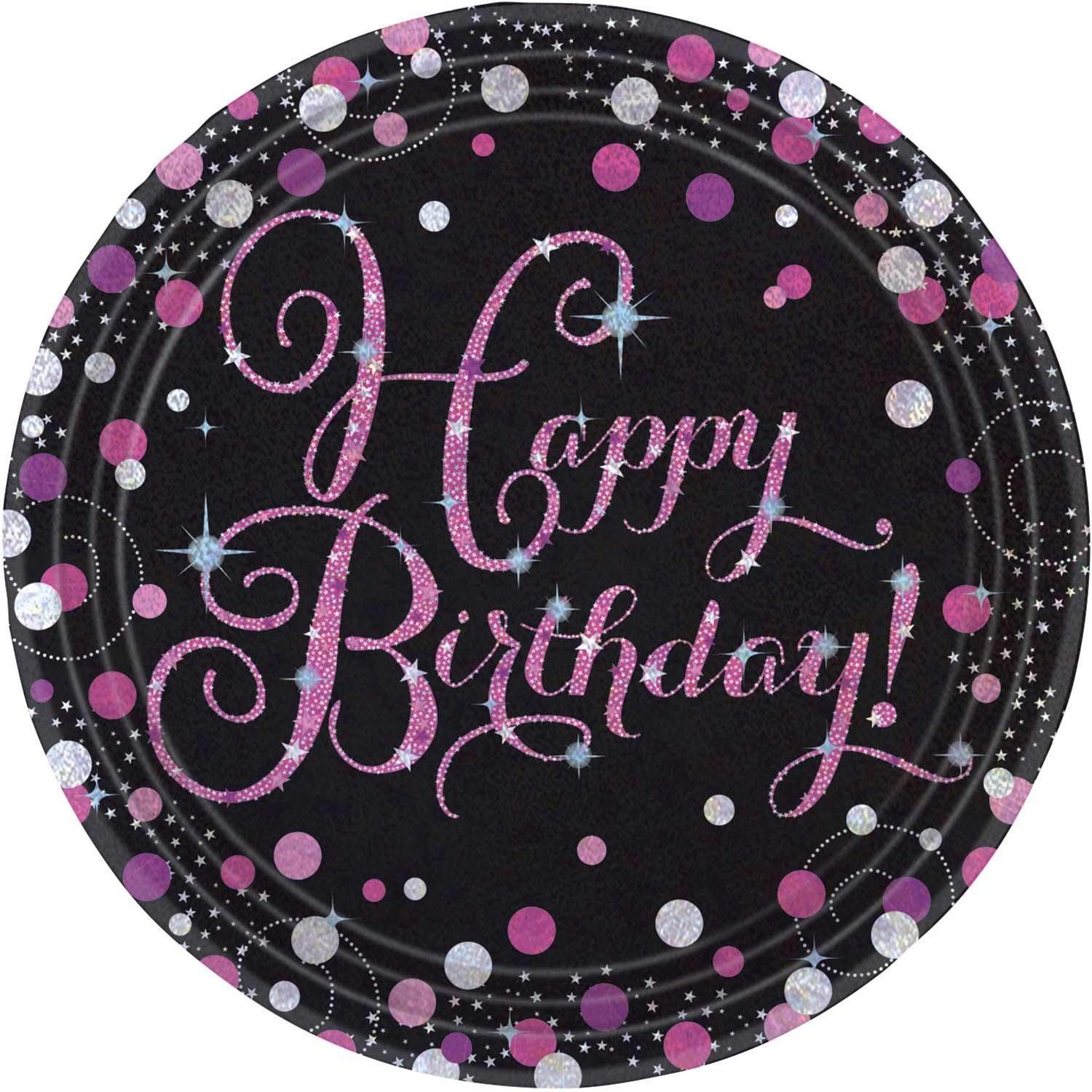 Paper Plates Happy Birthday Pink & Silver