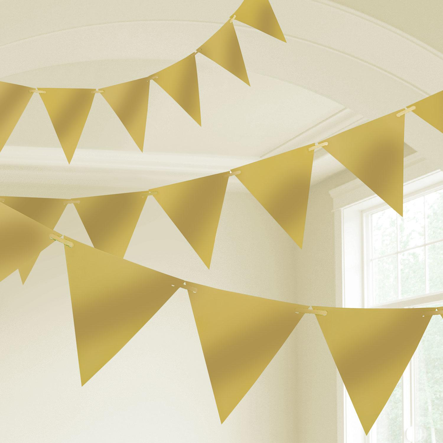 Pennant Bunting Gold Plastic