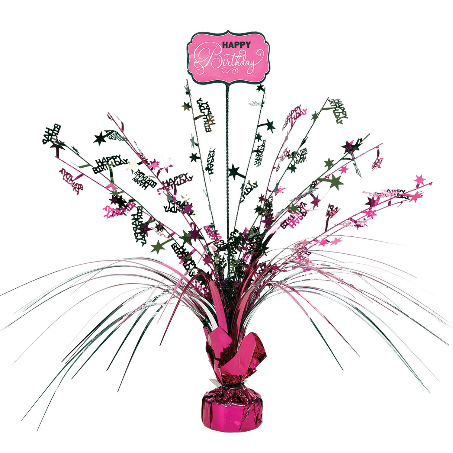 Centrepiece Spray Birthday Black & Pink