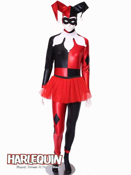 Harley Quinn Style Hire Costume Red & Black