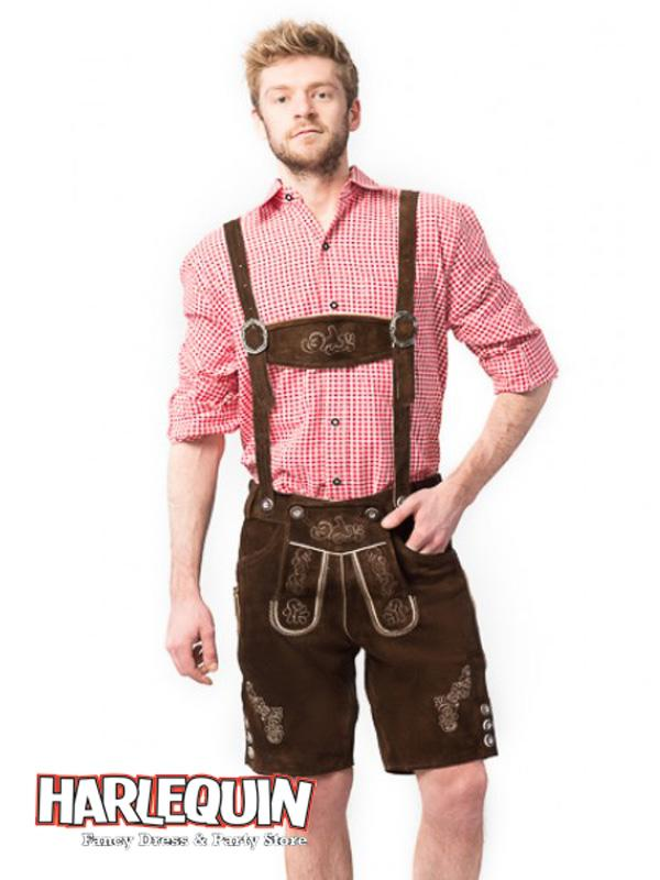 Bavarian Lederhosen Hire Costume Red