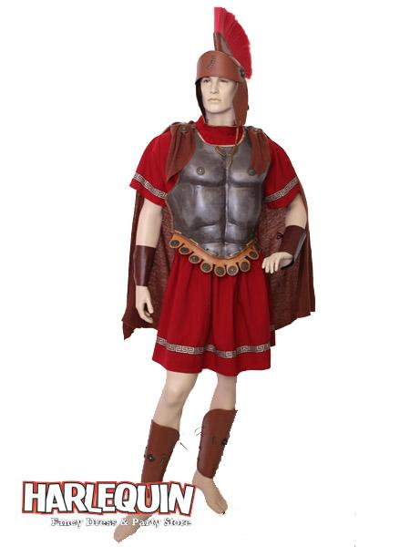 Roman Centurion Hire Costume Red & Bronze