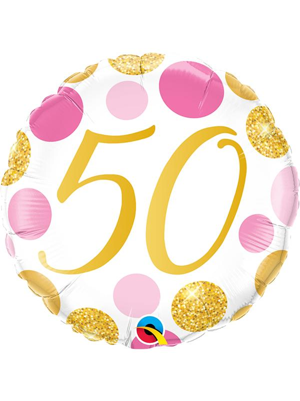 Foil Balloon Age 50 Gold & Pink Dots