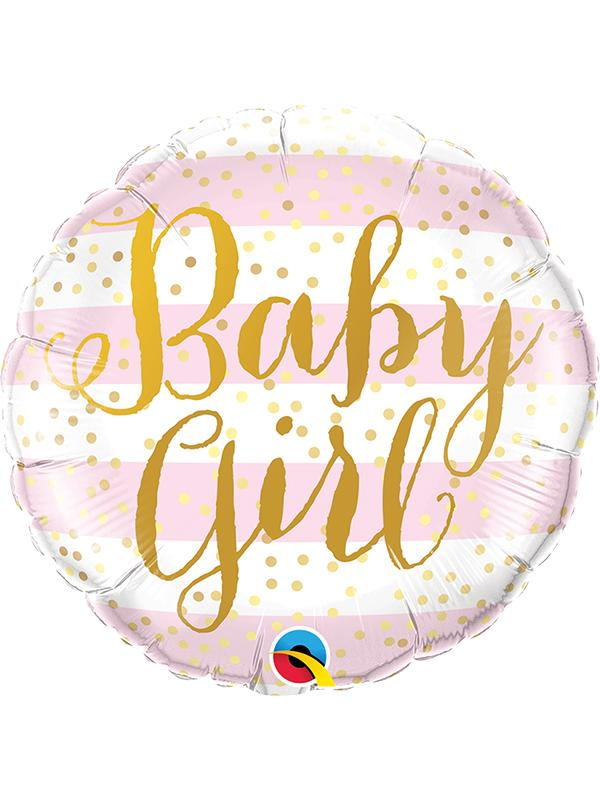 Foil Balloon Baby Girl Pink Stripes