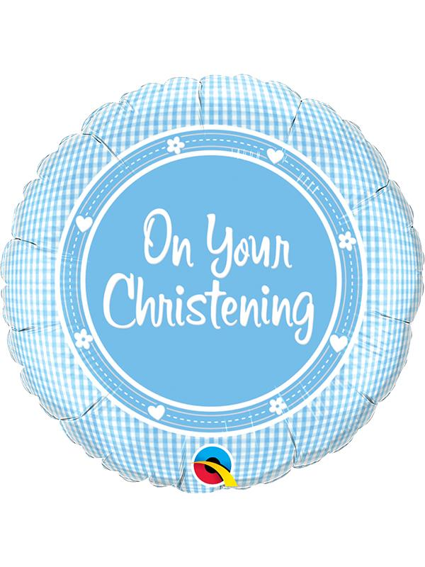 Foil Balloon On Your Christening Blue
