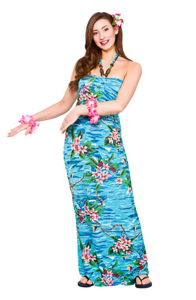 Hawaiian Maxi Dress Orchid Ocean