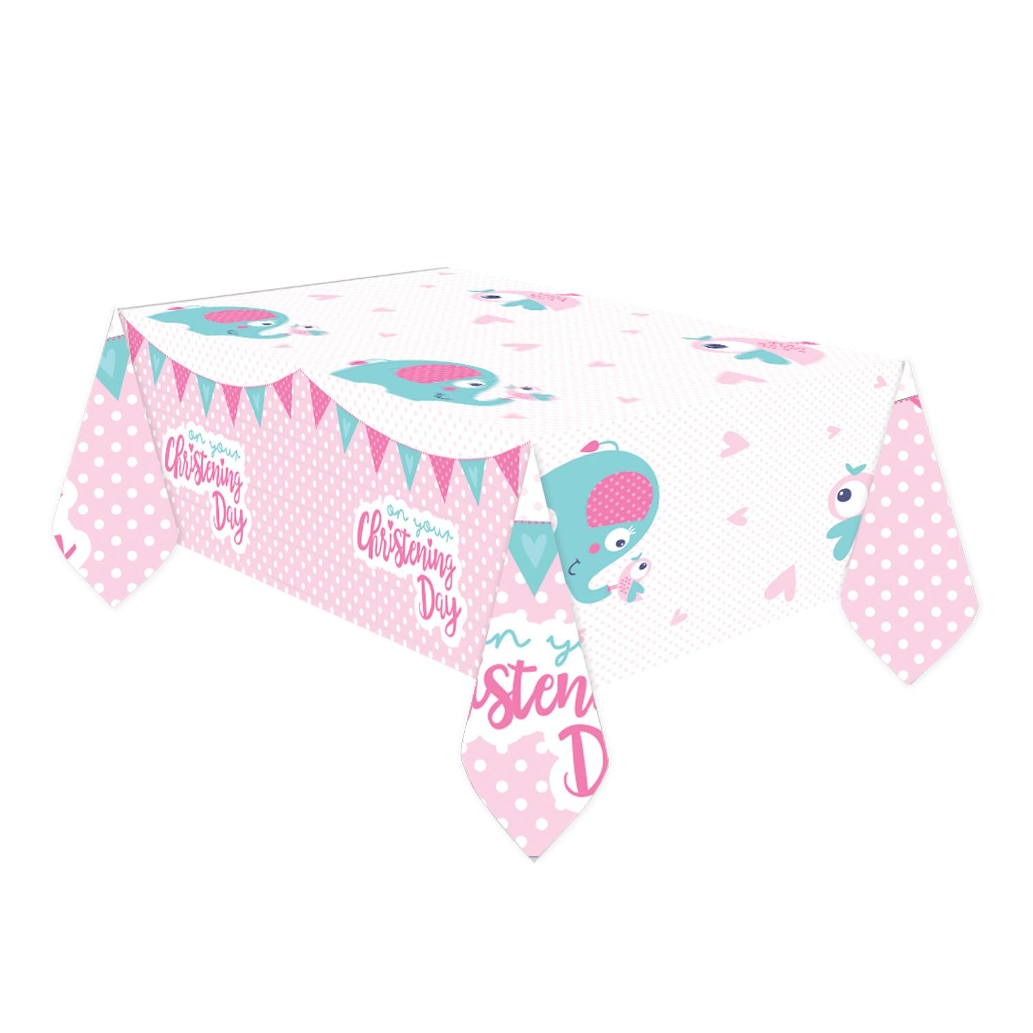 Plastic Tablecover Christening Pink