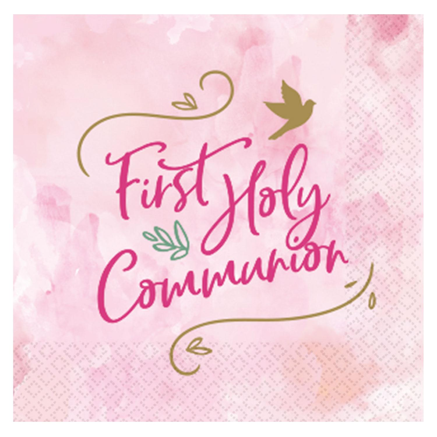 Paper Napkins First Holy Communion Pink